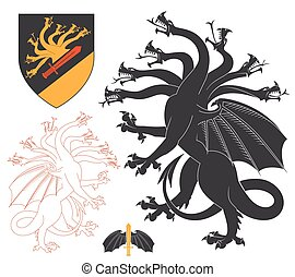 Black Hydra Illustration For Heraldry Or Tattoo Design Isolated On White Background. Heraldic Symbols And Elements