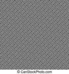 Black hypnotic waves seamless pattern white