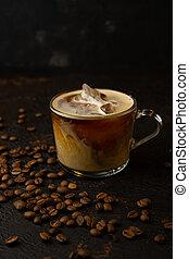 black iced coffee with cream
