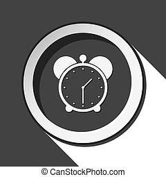 black icon - alarm clock with shadow