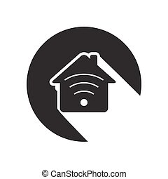 black icon - house with signal