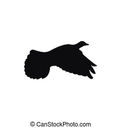 Black icon of a dove in flight on the side