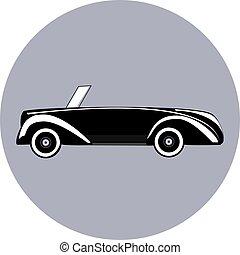 Black icon of cabriolet vector illustration