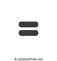 Black icon of equal on white background, equivalent vector eps10