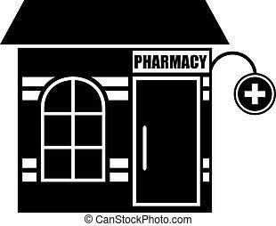 Black icon of pharmacy