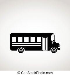 Black icon of school bus.
