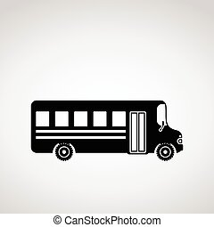 Black icon of school bus.