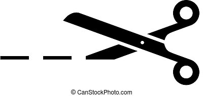 black icon of scissors with cutting line on white background