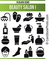 Black Icon Set Beauty Salon I