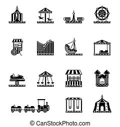Black icon set of amusement park, carousel and other attractions. Vector illustrations