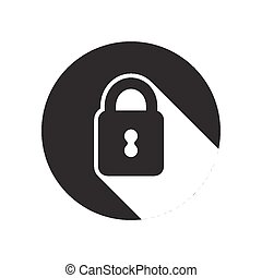 black icon with closed padlock