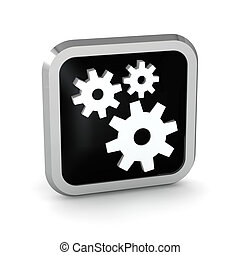 black icon with gears on white background