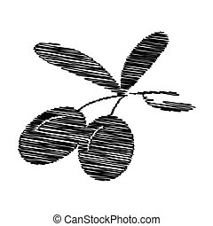 Black icon with scribble effect - Olives sign. Flat style...