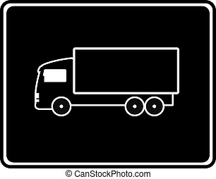 black icon with shipping truck