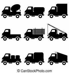 black icons collection trucks