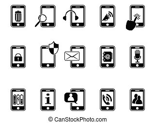 black icons for mobile phone