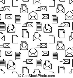 A lot of black icons of documents and envelopes on white, seamless pattern