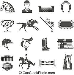 Black icons set on white background with accessories for horse riding and equestrian sport isolated vector illustration.