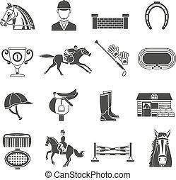 Black Icons Set With Horse Equipment - Black icons set on...