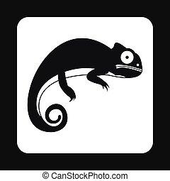 Black iguana icon, simple style
