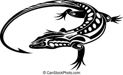 Black iguana lizard in tribal style isolated on white...