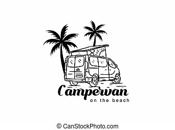 Black illustration drawing of campervan on the beach