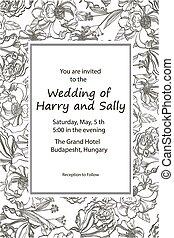 black , illustration., ouderwetse , hand, invitation., vector, roses., trouwfeest, getrokken, witte bloemen, weide