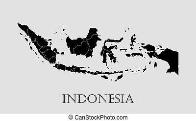 Black Indonesia map - vector illustration
