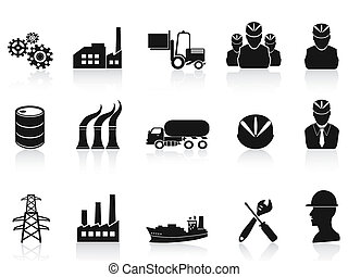 black , industrie, iconen, set