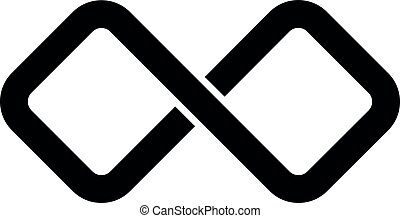 Black infinity symbol icon. Rectangular shape with rounded...