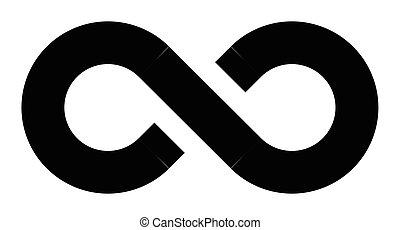 Black infinity symbol icon. Simple flat vector design...