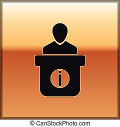 Black Information desk icon isolated on gold background. Man silhouette standing at information desk. Help person symbol. Information counter icon. Vector Illustration