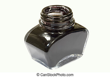 black ink - A jar of black writing ink on an isolated...
