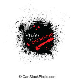 Black ink blots background - Set of spray paint blots