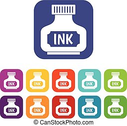 Black ink bottle icons set flat
