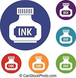 Black ink bottle icons set