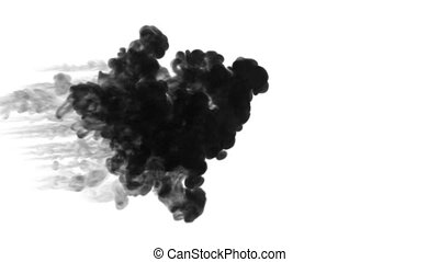 black ink dissolve in water on white background with luma matte. 3d render of computer simulation. Ink volleys as a wall of ink. horizontal shot