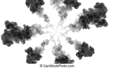 black ink dissolves in water on white background with luma matte. 3d render of computer simulation. V6 a lot of ink flows form round structure