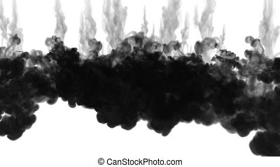 black ink dissolves in water on white background with luma matte. 3d render of computer simulation. V7