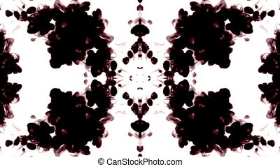 black ink dissolves in water on white background with luma...