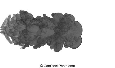 black ink drop in water on a white background. 3d render. voxel graphics. computer simulation of smoke. Ink distribution in the water