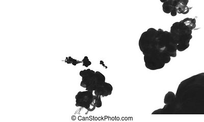 black ink drop in water on a white background for effects. 3d render. voxel graphics. computer simulation 38