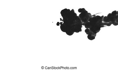 black ink drop in water on a white background for effects....