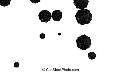 black ink droplet falls on the white surface. 3d render...
