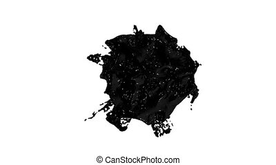 black ink droplet falls on the white surface. 3d render liquid with very high detail and alpha mask for compositing. Ver 7