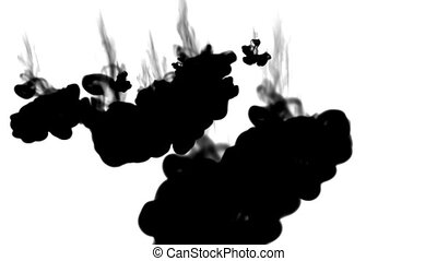 black ink flows on white moving in slow motion, ink or smoke inject . Black colour dissolves in water for Inky or smoky background or ink effects. Use luma matte like alpha mask or alpha channel
