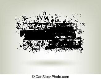 Black ink grunge banner.