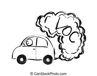 Black Ink Hand Drawing of Car Producing VOC Air Pollution - ...
