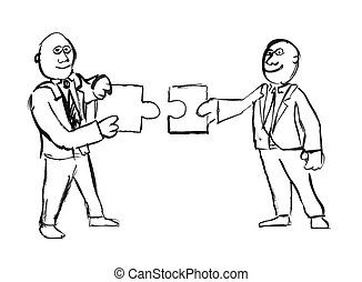 Black Ink Hand Drawing of Two Businessmen Holding Matching Puzzle Pieces.