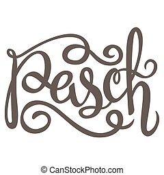 Black ink Hand drawn easter greeting card on white background Happy easter freehand lettering.